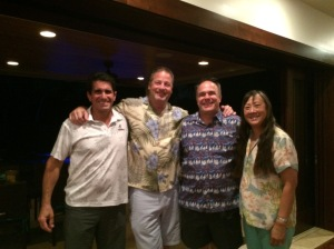 USNA 81 Reunion: Steve Colon, Me, Russ Grocki, Alma (Lau) Grocki at Steve's home in Kailua.
