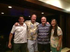 USNA 81 Reunion: Steve Colon, Me, Russ Grocki, Alma (Lau) Grocki at Steve's home in Kailua.