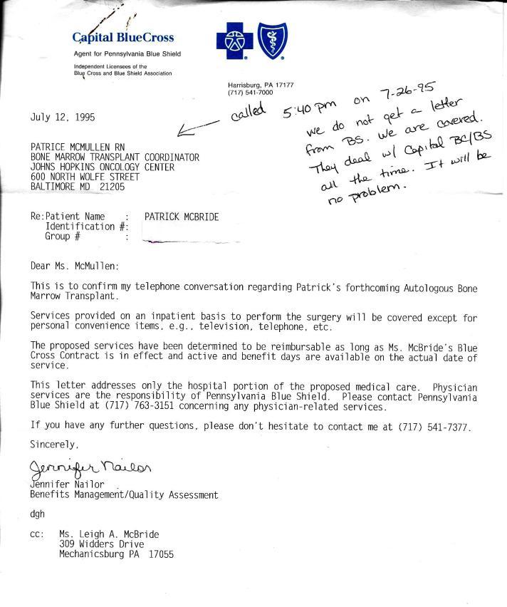 BMT Letter
